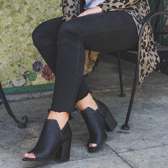 b7222e8a6b1c0 Black Vegan Leather Studded Peep Toe Ankle Booties